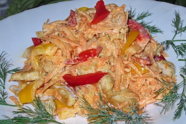 Салат корейская морковь с курицей